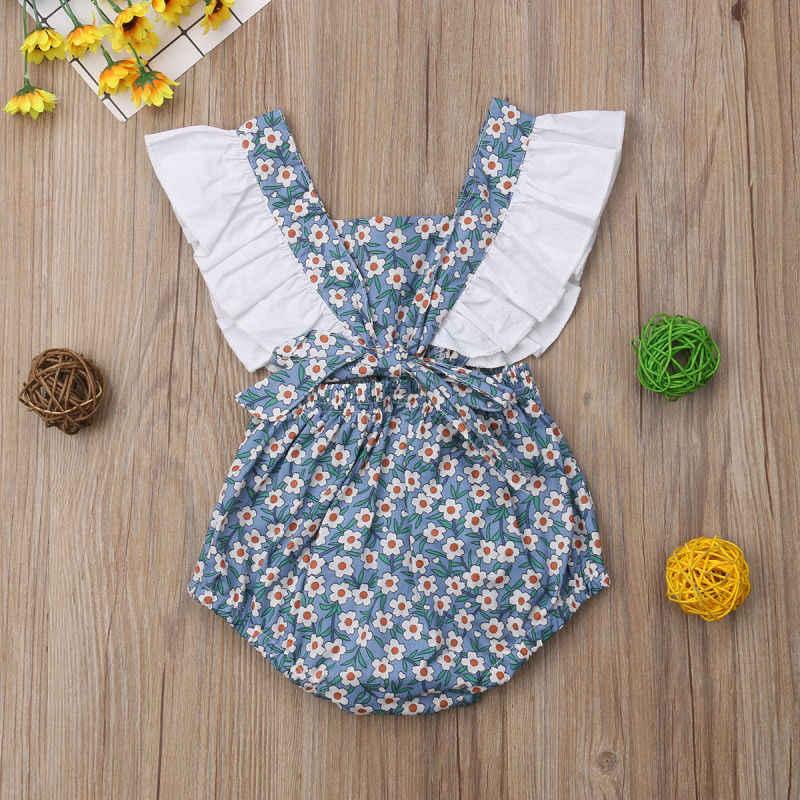 ดอกไม้พิมพ์เด็กเสื้อผ้าแขนกุดฤดูร้อน Ruffle Rompers Jumpsuit Outfits Sunsuit เสื้อผ้าเด็กทารกใหม่ 0-24 M