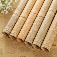 52*75cm Wrapping Paper Set Brown Kraft Paper Roll 6 Different Styles Old English Newspaper For Bouquet Bouquet Packaging