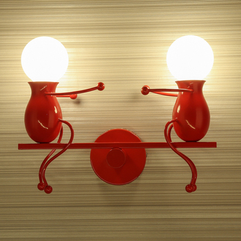Black Metal Wall Decor | Cartoon Led Wall Lamp Iron Robot For Children's Room Study Creative Bedside Lamp Living Room Decoration Wall Sconce E27