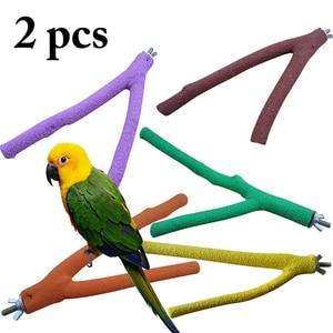 2019 recién llegados 2 uds 20cm mascota loro madera cruda tenedor árbol rama soporte estante juguete hámster rama perchas para jaula de pájaros
