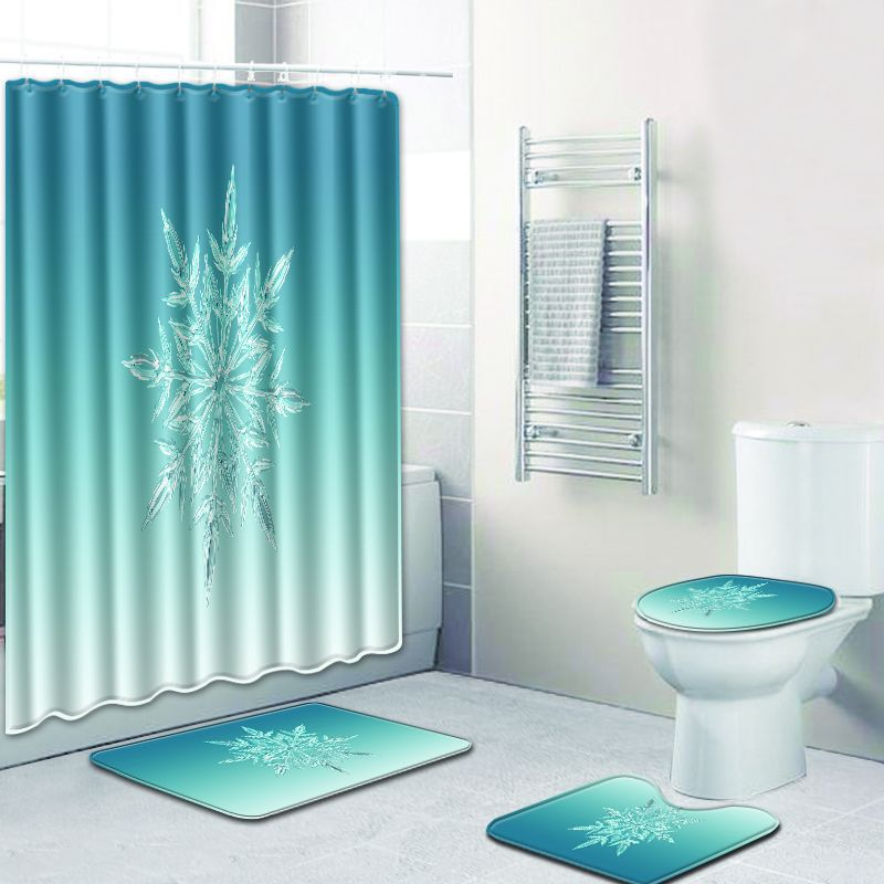 Snowflake Waterproof Bathroom Shower Curtain Bathroom Carpet Blue Non-slip 4pcs Bath Mat Set Christmas Rugs Toilet Mat Sets New