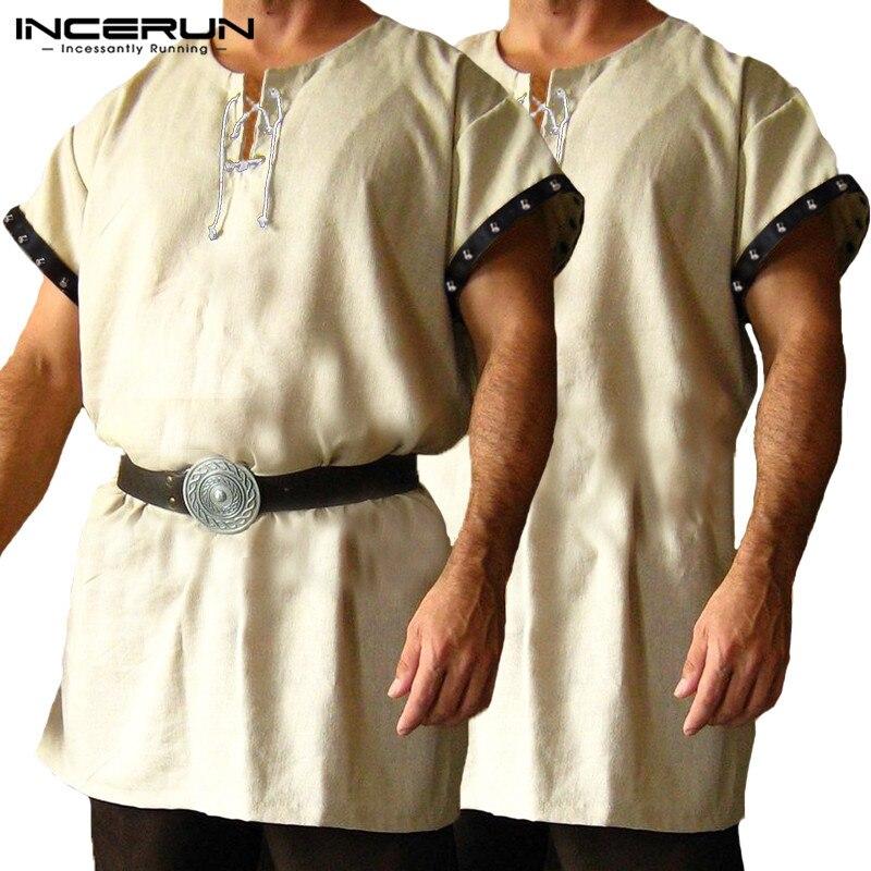 Medieval Period Viking Shirts Tops Chevalier Shirt Men Short Sleeve Shirt Dress Tops Knight Tunic Stage Costumes Hombre Kurta Men's Clothing