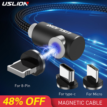 USLION Fast Magnetic Cable Micro USB Type C For iPhone XS Max X XR 8 7 Samsung S10 S9 S8 Charger Charging Magnet Cable Cord 1M Mobile Phone Cables