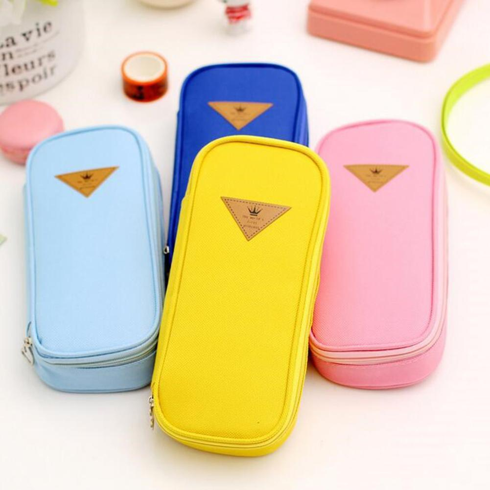 Rectangle Flip Design Pen Box Pencil Pouch Student Office Stationery Zipper Bag
