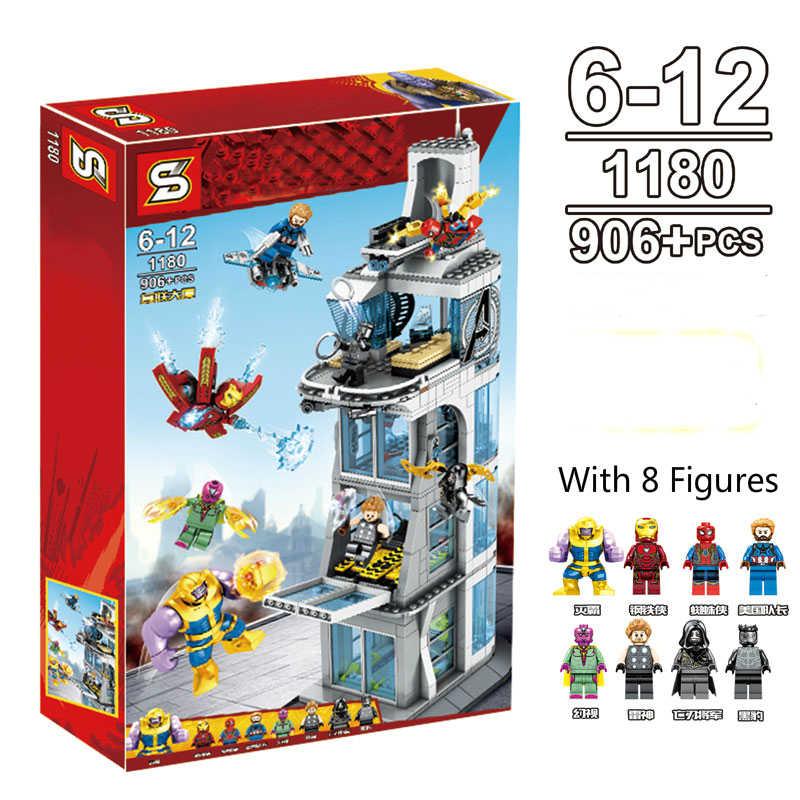 906 adet yeni süper kahraman Marvel Avenger kulesi yapı taşları tuğla Thanos örümcek adam hediyesi kahraman oyuncak çocuklar için