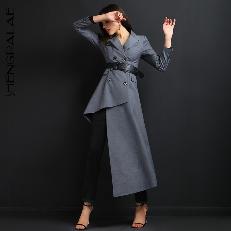SHENGPALAE 2019 Spring Women Fashion Bouble Breasted Asymmetrical Length Turn-down Collar Vintage   Trench   Office Lady Coat FM337