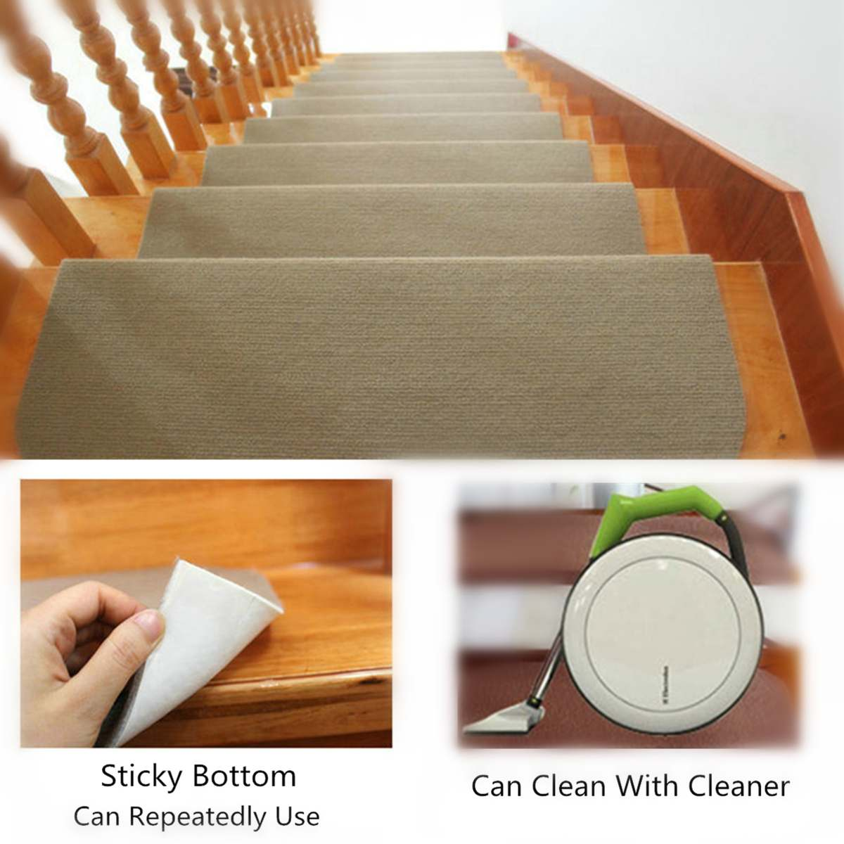 14pcs 20x45cm Brown/Beige Anti-slip Stair Pads Carpet Mat Sticky Bottom Repeatedly-use
