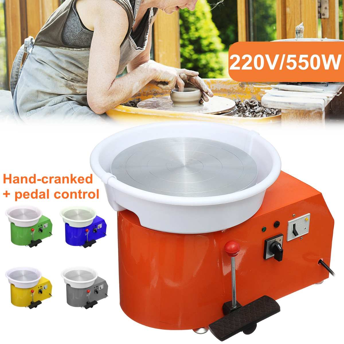 Turning Electric Pottery Wheel Ceramic Machine 220V 550W 300mm Ceramic Clay Potter Kit For Ceramic Work Ceramic learning Machine