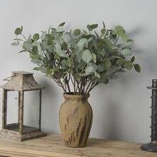 65cm sztuczne fałszywe zielone liście eukaliptusa zielona roślina jedwabne kwiaty Nordic do dekoracji ślubnej domu DIY wieniec wystrój domu