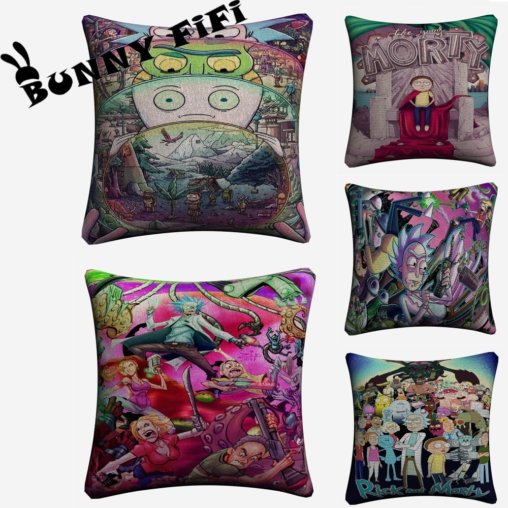 Rick And Morty Cartoon Decorative Pillow Covers For Sofa Home Decor Linen Cushion Case 45x45cm Throw Pillow Cases in Cushion Cover from Home Garden