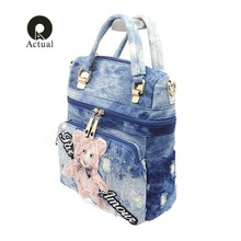 2019 qian yi yuan brand fashion women shoulder bag female washed denim hollow out  bag high quality embroidery tote bag