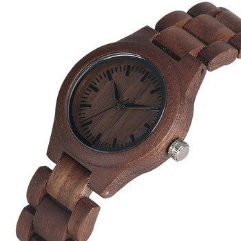 Женские наручные часы с элегантным ремешком из орехового дерева ручной работы