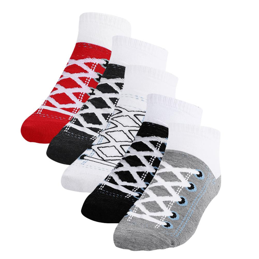 Mens athletic low cut Ankle sock Black checkerboard fabric Non-Slip Fit Short Sock