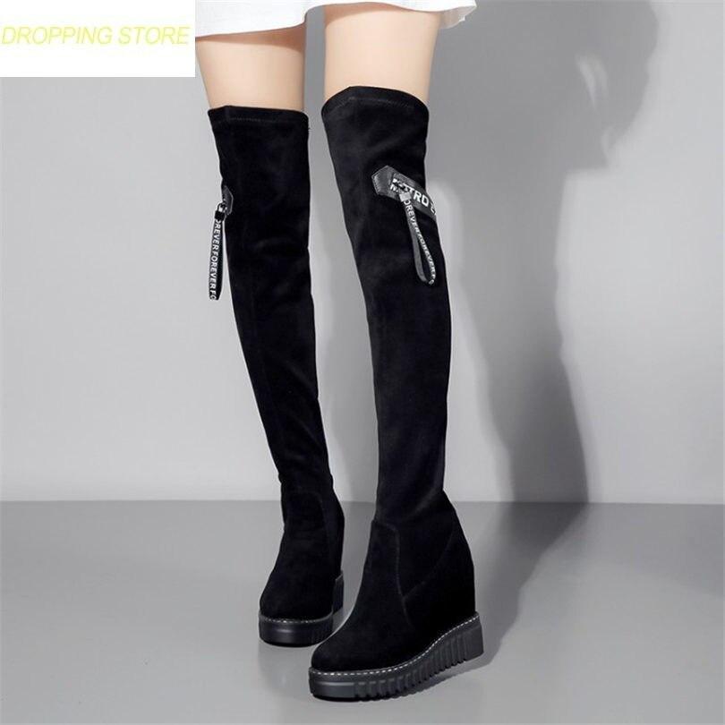 black2 Chaussures Bottes Femmes Stretch Cuissardes khaki3 Genou Talon Cuir  Bout black1 Longues Le Haut Rond ... 0c4e824bc9c2