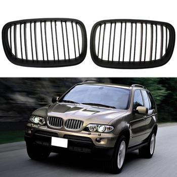 1 çift Araba ABS Siyah araç ön ızgarası Yarış Izgaralar BMW X5 X5M X6 X6M E70 E71 2008-2013 Otomatik dış Aksesuarlar