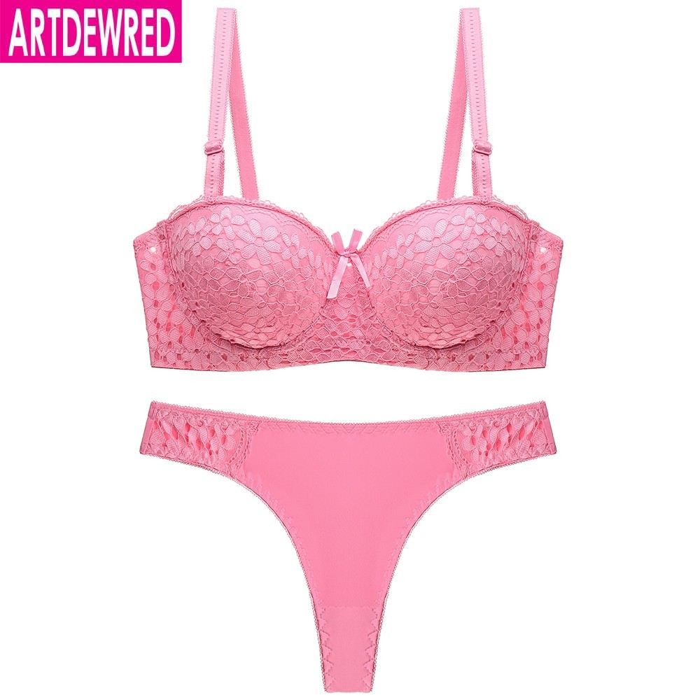 Sexy Lace Half Cup Push up Bras Ladies Bra Sets Women Underwear Set Matching Thong