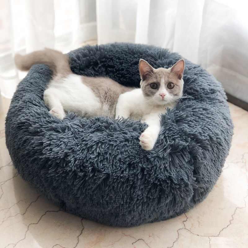 Peluche lungo super morbido cuccia per cani tondo gatto inverno caldo che dorme cucciolo cucciolo cuscino portatile forniture per gatti 46/50/60 cm
