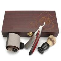 Vintage Straight Razor Shaving Kit Barber Stainless Steel Edge Folding Knife Wood Case Sharpening Strop Brush Shaving Set