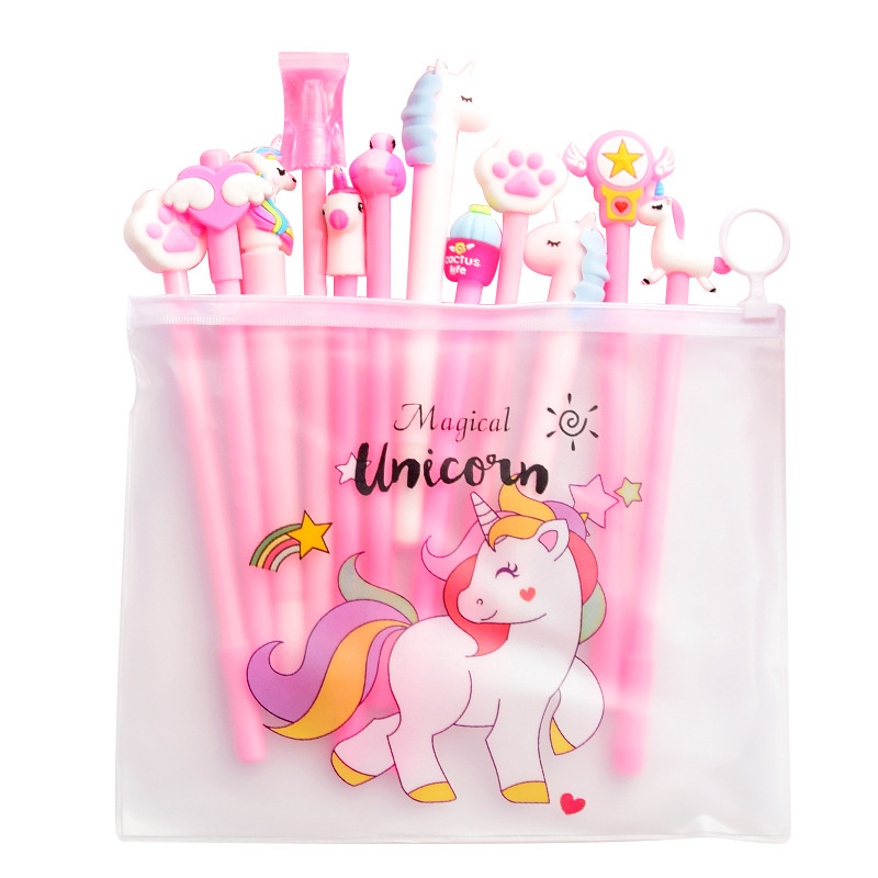 10pcs Random Pen +Bag Kawaii Unicorn Gel Pen Rainbow Color Pen For Student Writing School Supplies Stationery Gifts