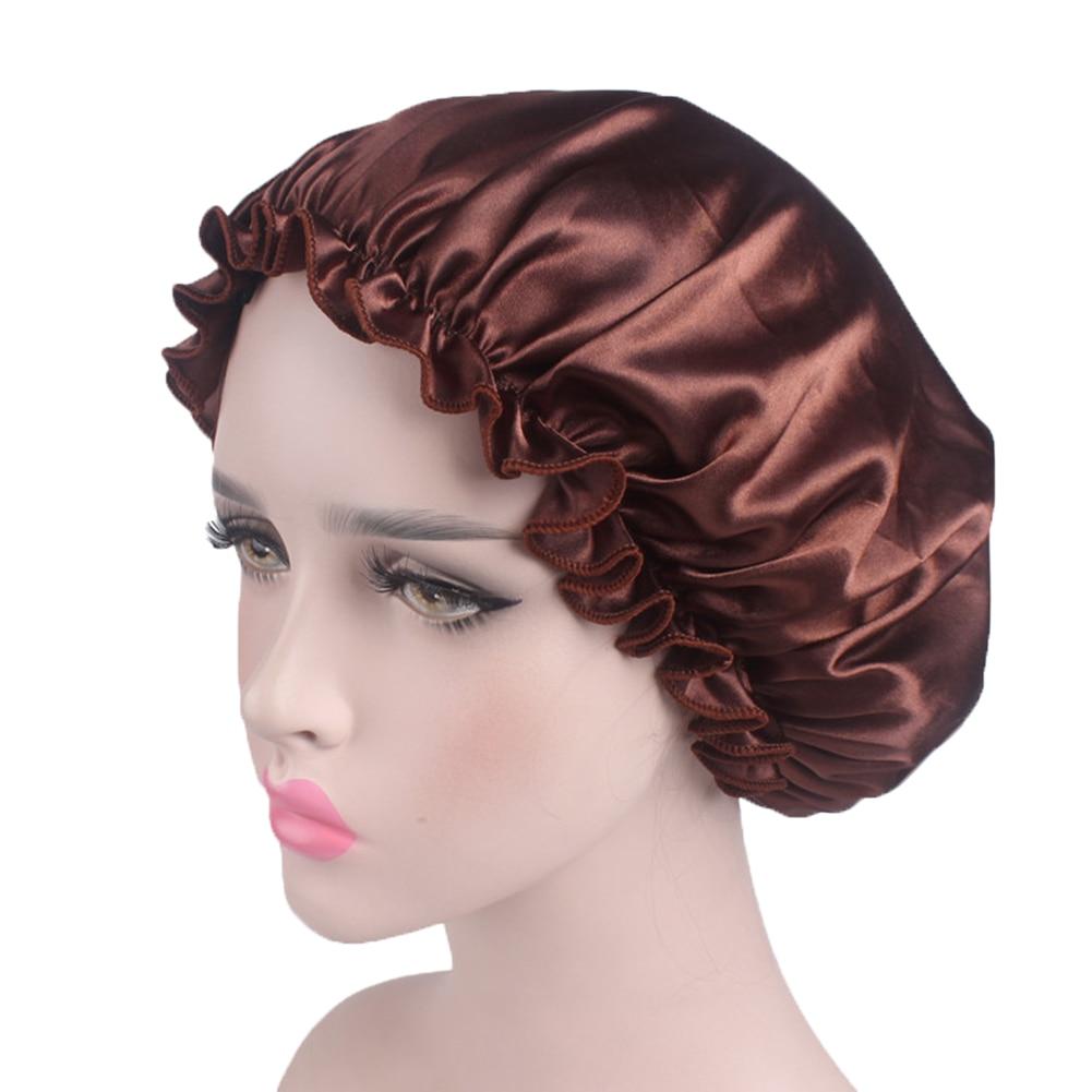 Women Fashion Beauty Satin Bonnet Cap Sleep Night Cap Head Cover Bonnet Hat for Ladies Solid Sleeping Hat-in Women's Skullies & Beanies from Apparel Accessories on AliExpress