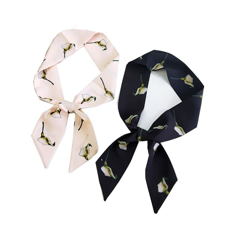 Chic Narrow Scarf Stole Neckerchief Hair Band Small Silk Scarf Woman Summer Korean Silk Bag Ribbon Scarf