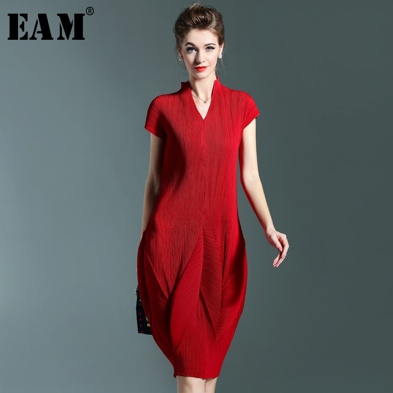 [EAM] 2020 New Spring Summer Fashion V-neck Short Pleated Sleeve Patchwork Draped Temperament Woman Bud Dress All-match S845
