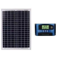 40A / 50A/60A 18V 20W Black Solar Panels 12V/24V Solar Controller With Usb Interface Battery Travel Power Supply