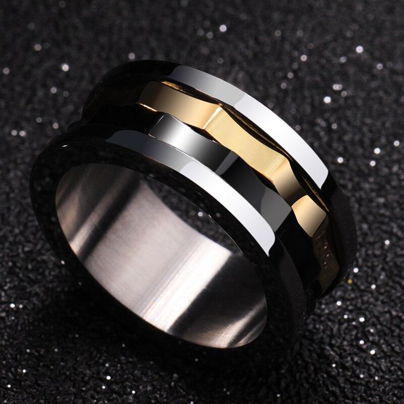 Anneau pour hommes, anneaux en carbure de tungstène avec des couleurs noires et dorées - 3