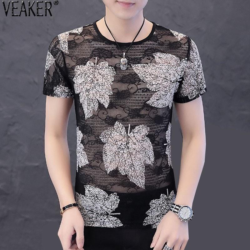 2019 New Men's Black Hollow T Shirt Men Lace Mesh Flower Short Sleeve T Shirts Men Summer Casual Tshirt Tops M-3XL
