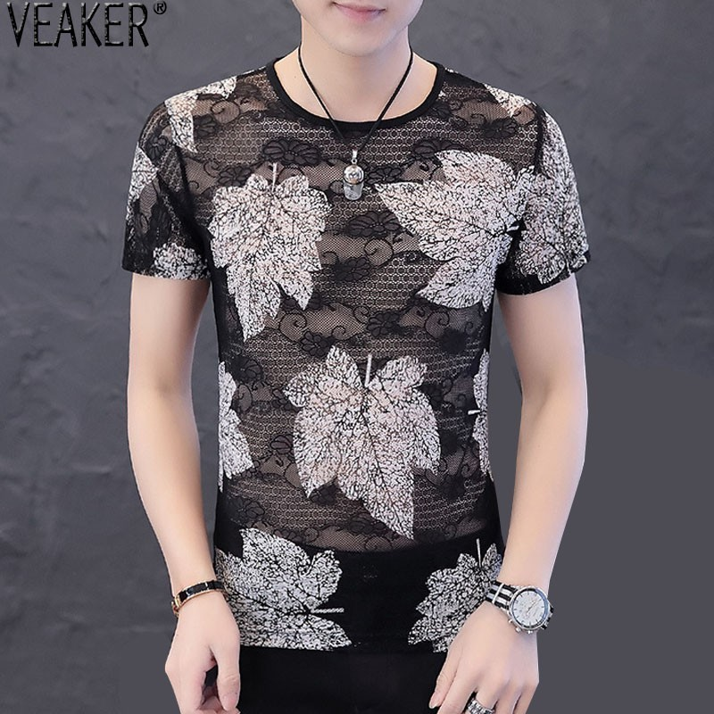 2019 New <font><b>Men's</b></font> Black hollow t shirt <font><b>Men</b></font> lace <font><b>Mesh</b></font> Flower Short Sleeve t shirts <font><b>Men</b></font> Summer Casual <font><b>tshirt</b></font> Tops M-3XL image