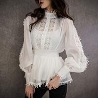 woman's blouses summer 2019 stand collar lantern sleeve chiffon stitching lace tops shirts women's ruffles korean elegant shirt