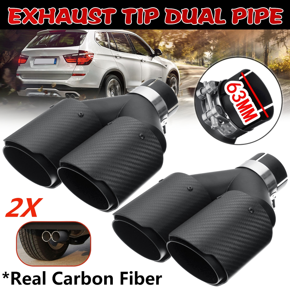 Durable 63MM Auto Car Dual Exhuast Pipe Tip Muffler Stainless Steel Tail Throat