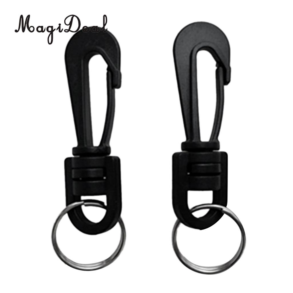 MagiDeal 2 Pieces Scuba Diving Plastic Swivel Spring Snap Hook Clip With Split Rings SCUBA Snorkeling Compass Accessories