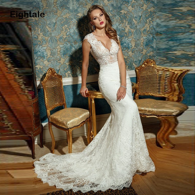 Eightale Lace Wedding Dress Boho V Neck Appliques Sheer Mermaid Bride Dress Sexy Vintage Wedding Gowns Vestidos De Novia 2019
