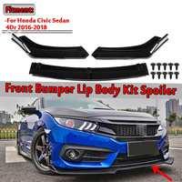 3pcs Universal Car Front Lower Bumper Lip Spoiler Body Kit For Honda For Civic Sedan 4Dr 2016 2018 Carbon Fiber Look / Black