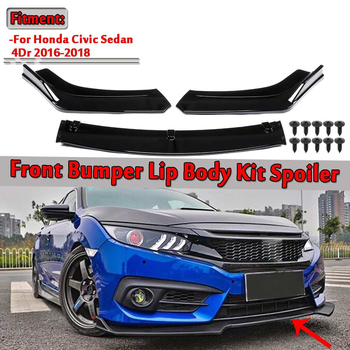 3pcs Universal Car Front Lower Bumper Lip Spoiler Body Kit For Honda For Civic Sedan 4Dr 2016 2018 Carbon Fiber Look / Black