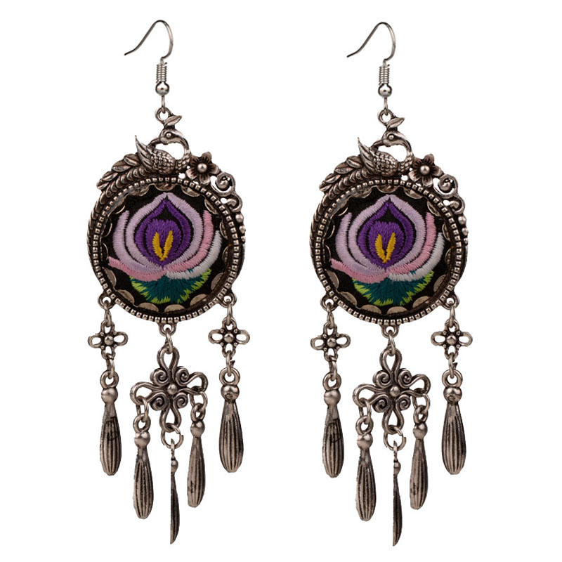 Ethnic Tribal Embroidered Purple Bird Flower Vintage Statement Dangle Earrings For Women New Fashion Jewelry 2019 in Drop Earrings from Jewelry Accessories