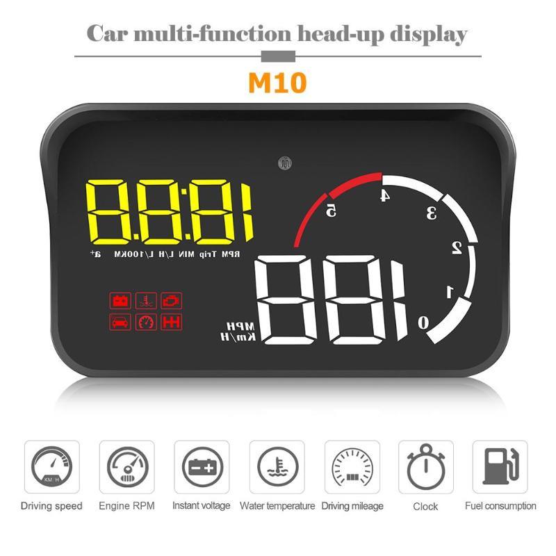 M10 voiture HUD OBD II OBD2 pare-brise automatique tête haute affichage projecteur système d'avertissement de survitesse alarme de tension