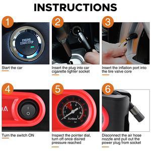 Image 3 - DC12V 100PSI Auto Luchtcompressor Luchtpomp Outlet Compact Portable Auto Tire Pump Inflator Voor Auto Fietsen Motorfietsen