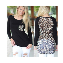 2019 Spring&Fall Patchwork T Shirt Sexy Womens Chiffon Leopard Patched Back Loose Long Sleeve Tee Casual Tops Hot Selling