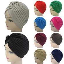 Fashion New Bandanas  Stretchy Headscarf Knotted Indian Cap Turban Muslim Hat Wrap Chemo Women