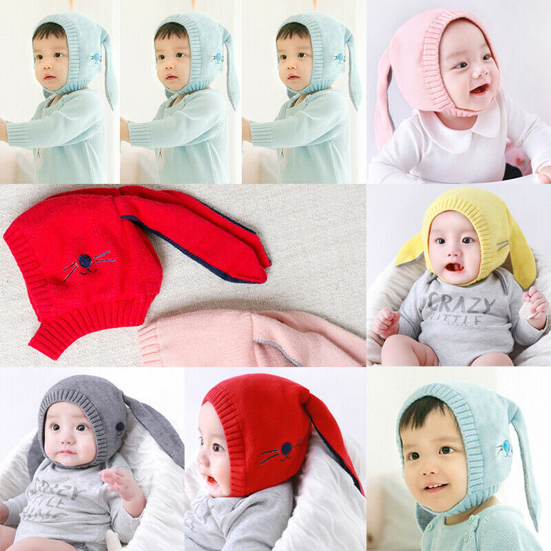 Hat Cap Rabbit Winter Kids Cute Thicker Girl Woolen Boy Fashion Ear Beanie Crochet Knitted