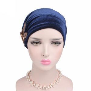 Image 5 - Gorra India musulmana para mujer, gorro de terciopelo para mujer, gorro turbante de quimio con cuentas, sombreros de flores, gorro de cáncer interior elegante