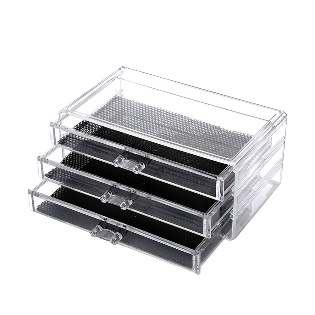 1Pc Storage Case Space- Saving Plastic Jewelry Makeup Cosmetics 3 Drawers Storage Case For Office Home