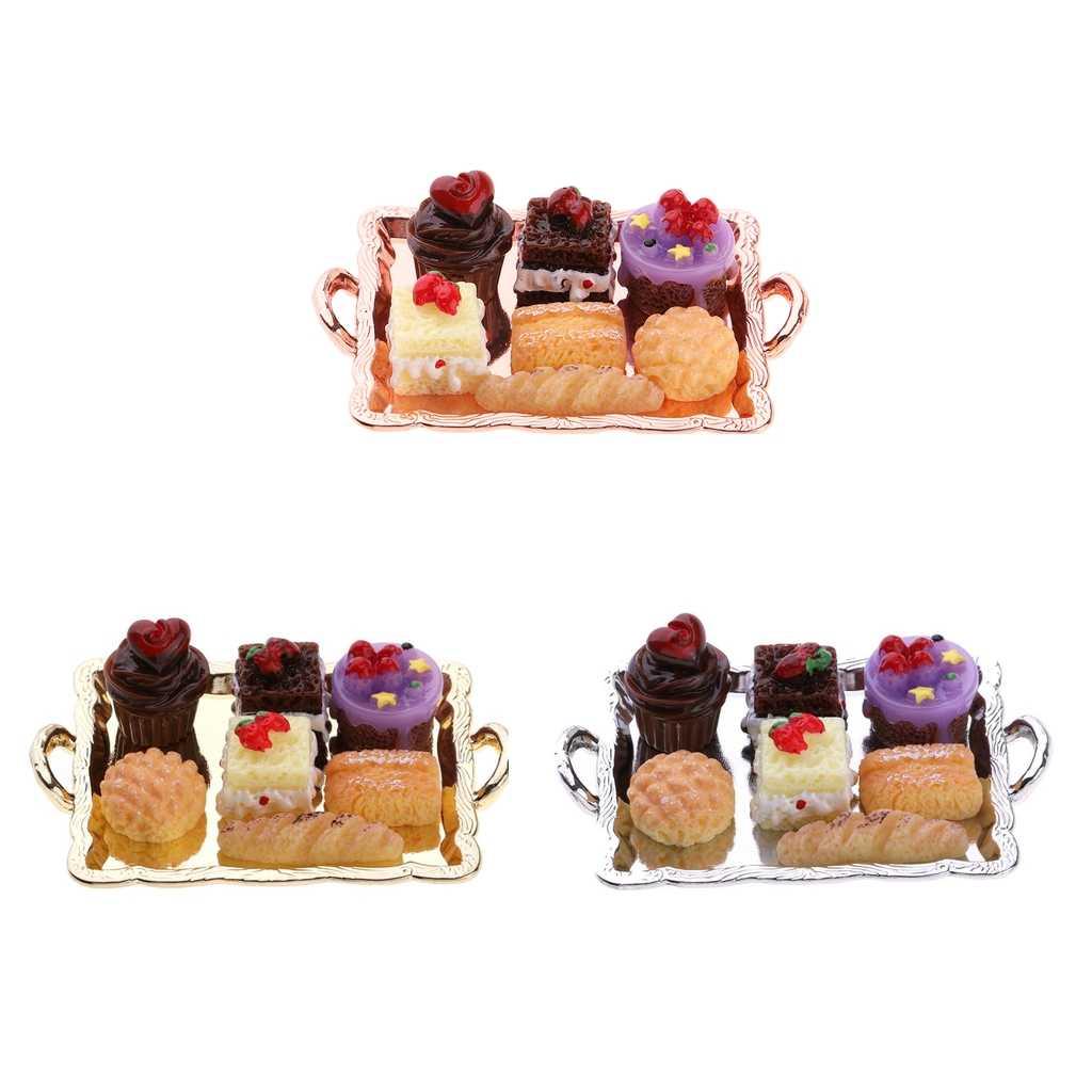 1:12 Dollhouse miniaturowe jedzenie ciasto płyta pieczywo zestaw na stół kuchenny ozdobny element akcesoriów idealny do udawania zabawki