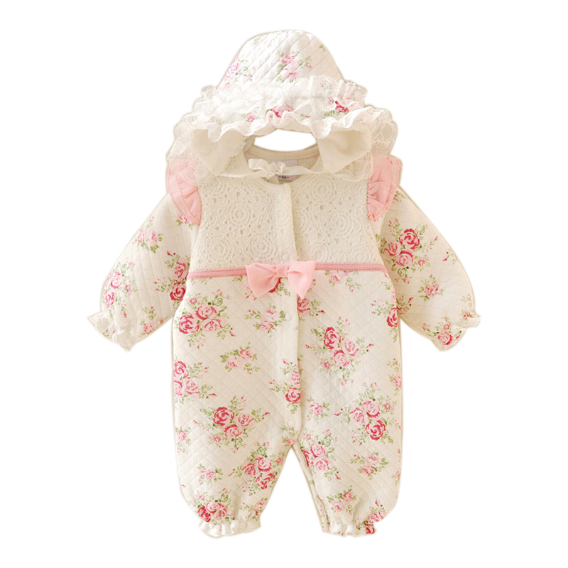 Floral Winter Thicken Baby Clothes Warm Kids Clothing Set Rompers Hats Princess Girls Jumpsuits Outerwear in Rompers from Mother Kids