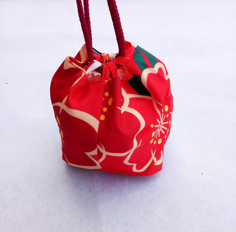 Size 16 Cm Women Japanese Kimono Yukata Handbag Floral Drawstring Bucket Bag Japan Traditional Cosplay Costumes A9325