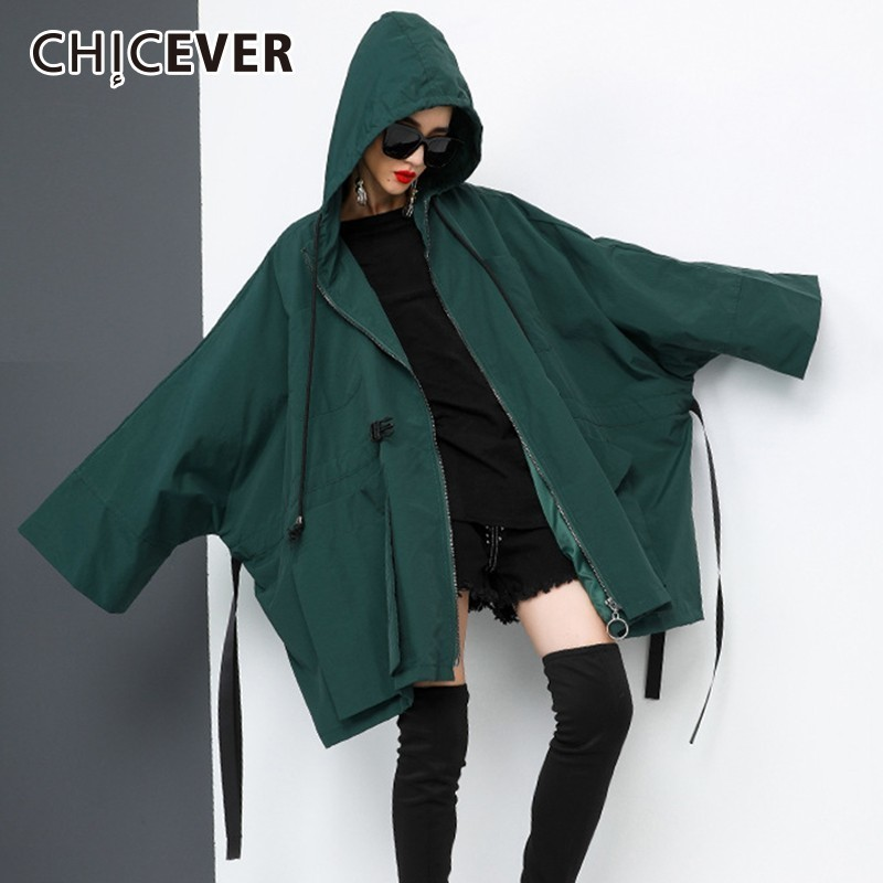 CHICEVER Autumn Trench Coat For Women's Windbreaker Hooded Batwing Long Sleeve Zipper Loose Oversize Windbreakers Fashion Tide