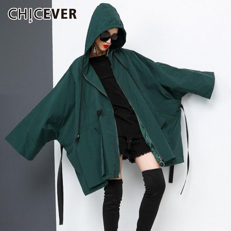 CHICEVER Autumn Trench Coat For Women's Windbreaker Hooded Batwing Long Sleeve Zipper Loose Oversize Windbreakers Fashion Tide