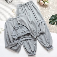 Mooirue Tracksuit Women 3 Pieces Set Casual Solid Pant Set Spring Letter T shirt +vest+ High Waist Ankle Pants Matching Sets